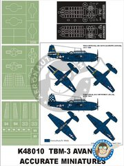 Montex Mask: Masks 1/48 scale - TBM-3 Avenger - paint masks, placement instructions and painting instructions - for Accurate Miniatures kits