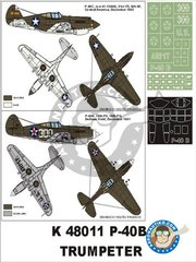 "Montex Mask: Masks 1/48 scale - P-40B ""USAAF"" - paint masks, placement instructions and painting instructions - for Trumpeter kits"