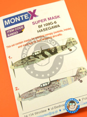 Montex Mask: Masks 1/48 scale - Messerschmitt Bf 109 G6 - 1943 (IT1); summer 1943 (IT1) - Italy 1943 - paint masks, placement instructions and painting instructions - for Hasegawa kits image