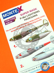Montex Mask: Masks 1/48 scale - Lockheed P-38 Lightning J - April 1944 (US7); Italy, September 1944 (US7) - USAF - paint masks, water slide decals, placement instructions and painting instructions - for Hasegawa kit