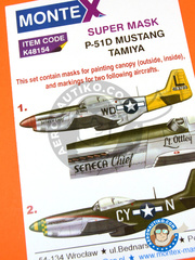 Montex Mask: Masks 1/48 scale - North American P-51 Mustang D - USAF (US7); Madna, Italy, June 1944 (US7) 1944 - paint masks, water slide decals and painting instructions - for Tamiya kits image