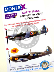 Montex Mask: Marking / livery 1/48 scale - Supermarine Spitfire Mk. VIII / Mk. IX - RAF (GB5) - paint masks and assembly instructions - for Eduard reference 84139, or Hasegawa reference 07301
