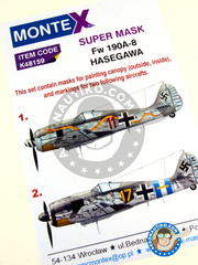Montex Mask: Masks 1/48 scale - Focke-Wulf Fw 190 Würger A-8 - Luftwaffe (DE2); Achmer, early summer 1943. (DE2) 1944 - paint masks and painting instructions - for Hasegawa kits image