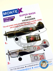 Montex Mask: Masks 1/48 scale - Curtiss P-40 Warhawk K - Russian Air Force (RU3) 1942 and 1943 - paint masks - for Hasegawa kit image