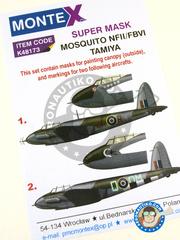 Montex Mask: Masks 1/48 scale - De Havilland Mosquito FB Mk. VI / NF Mk. II - December 1942 (GB4); October 1944 (GB4) 1942 and 1944 - paint masks - for Tamiya kits image