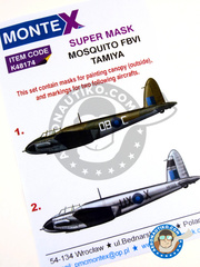 Montex Mask: Masks 1/48 scale - De Havilland Mosquito FB Mk. VI - January 1945 (GB5); early 1945 (GB5) 1945 - paint masks - for Tamiya kits