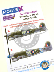 Montex Mask: Masks 1/48 scale - Hawker Typhoon Mk. Ib - (GB4) 1945 - paint masks - for Hasegawa kits image