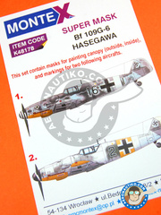 Montex Mask: Masks 1/48 scale - Messerschmitt Bf 109 G-6 - February 1944 (DE2); early 1944 (DE2) - paint masks - for Hasegawa kit