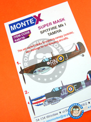 Montex Mask: Masks 1/48 scale - Supermarine Spitfire Mk. I - for Tamiya kit