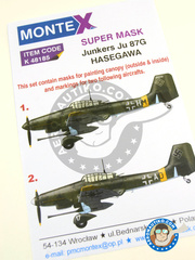 Montex Mask: Masks 1/48 scale - Junkers Ju-87 Stuka G-2 - Luftwaffe (DE2) - paint masks, water slide decals and painting instructions - for Hasegawa kits