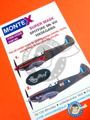 Montex Mask: Masks 1/48 scale - Supermarine Spitfire Mk. VIII - for Hasegawa kit