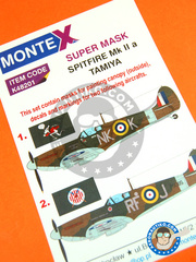 Montex Mask: Masks 1/48 scale - Supermarine Spitfire Mk. IIa  - for Tamiya kit