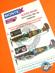 Montex Mask: Masks 1/48 scale - Supermarine Spitfire Mk. Vb - for Tamiya reference TAM61035