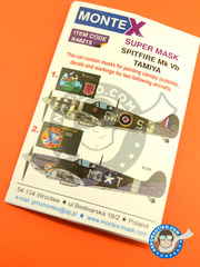 Montex Mask: Masks 1/48 scale - Supermarine Spitfire Mk Vb - 19 august 1942 (GB4); Debden, August 1942 (US5) - RAF 1942 - paint masks, water slide decals, placement instructions and painting instructions - for Tamiya kits image