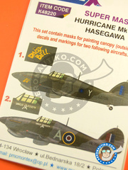 Montex Mask: Masks 1/48 scale - Hawker Hurricane Mk IIc - RAF (GB4); RAF (GB5) 1943 and 1944 - for Hasegawa kit image