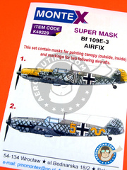 Montex Mask: Masks 1/48 scale - Messerschmitt Bf 109 E-3 - Luftwaffe (DE2) - paint masks and painting instructions - for Airfix kits
