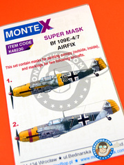 Montex Mask: Masks 1/48 scale - Messerschmitt Bf 109 E-4 - Luftwaffe (DE2) 1940 and 1942 - paint masks and painting instructions - for Airfix kits