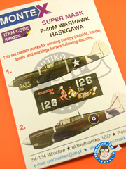 Montex Mask: Masks 1/48 scale - Curtiss P-40 Warhawk M - 1943 (US5); 1944 (NZ6) 1943 and 1944 - for Hasegawa kit image
