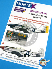 Montex Mask: Masks 1/48 scale - North American P-51 Mustang D - Chievres, Belgium, April 1945 (US7); Agust 1944 (US7) - USAF 1944 and 1945 - paint masks, water slide decals, placement instructions and painting instructions - for Tamiya kits