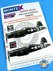 Montex Mask: Masks 1/48 scale - Vought F4U Corsair 1D - US Navy (US7) 1945 - paint masks, water slide decals and painting instructions - for Tamiya kit