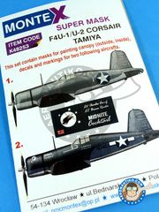 Montex Mask: Masks 1/48 scale - Vought F4U Corsair 1 - December 1943 (US7); July 1943. (US5) 1943 and 1944 - paint masks, water slide decals and painting instructions - for Tamiya kit