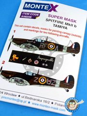 Montex Mask: Masks 1/48 scale - Supermarine Spitfire Mk Iib - RAF (GB3) 1941 - paint masks, water slide decals and painting instructions - for Tamiya kit image