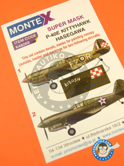 Montex Mask: Masks 1/48 scale - Curtiss P-40 Warhawk E - Libya, March 1942 (GB3); Philippines, March 1942 (US4) 1943 - paint masks, water slide decals, placement instructions and painting instructions - for Hasegawa kits