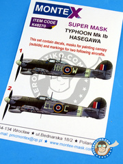 Montex Mask: Masks 1/48 scale - Hawker Typhoon Mk Ib - Spring 1943 (GB4); Germany, July 1945 (GB4) - RAF 1943 - paint masks, water slide decals, placement instructions and painting instructions - for Hasegawa kits image