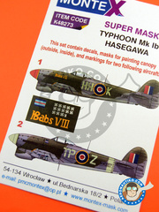 Montex Mask: Masks 1/48 scale - Hawker Typhoon Mk Ib - Germany, July 1945 (GB4); March 1944 (GB4) - RAF 1945 - paint masks, water slide decals, placement instructions and painting instructions - for Hasegawa kits image