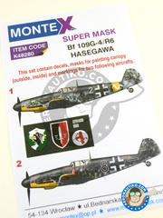 Montex Mask: Masks 1/48 scale - Messerschmitt Bf 109 G-4 - May 1943 (DE2); June 1943 (DE2) - Luftwaffe 1943 - paint masks, water slide decals, placement instructions and painting instructions - for Hasegawa kits
