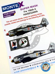 Montex Mask: Masks 1/48 scale - Focke-Wulf Fw 190 Würger A-5 - November 1943 (DE2); Tunisia, April 1943 (DE2) - Luftwaffe 1943 - paint masks, water slide decals, placement instructions and painting instructions - for Hasegawa kits