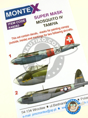 Montex Mask: Masks 1/48 scale - De Havilland Mosquito FB Mk. IV - March 1945 (CH1); November 1943 (US6) 1943 and 1945 - paint masks, water slide decals, placement instructions and painting instructions - for Tamiya kits