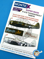 Montex Mask: Masks 1/48 scale - Republic P-47 Thunderbolt D Bubble Top - 1944 (US7);  (US7) - USAF 1944 - paint masks, water slide decals, placement instructions and painting instructions - for Tamiya kits