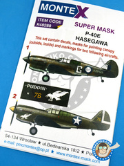 Montex Mask: Masks 1/48 scale - Curtiss P-40 Warhawk E - May 1942 (AU3); Aleutian Islands, 1942 (US5) 1944 - paint masks, water slide decals, placement instructions and painting instructions - for Hasegawa kits image