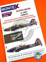 Montex Mask: Masks 1/48 scale - Ilyushin IL-2 Shturmovik IL-2M3 - October 1944 (RU2);  (RU2) - Russia 1944 - paint masks, water slide decals, placement instructions and painting instructions - for Tamiya kits