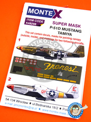 Montex Mask: Masks 1/48 scale - North American P-51 Mustang D - (US7); August 1942 (US7) - USAF - paint masks, water slide decals, placement instructions and painting instructions - for Tamiya kits image