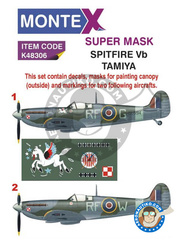 Montex Mask: Masks 1/48 scale - Supermarine Spitfire Mk. Vb - autumn 1942 (GB4) - RAF 1942 - paint masks, water slide decals, placement instructions and painting instructions - for Tamiya kits