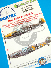 Montex Mask: Masks 1/32 scale - Messerschmitt Bf 109 E-3 -  (DE2) - Luftwaffe - paint masks, metal barrels, placement instructions and painting instructions - for Trumpeter kit