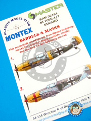 Montex Mask: Masks 1/32 scale - Messerschmitt Bf 109 E-4/7 - Ukranian Front, Spring 1942 (DE2); October 1943 (DE2) - paint masks and metal barrels - for Eduard kit