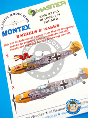 Montex Mask: Masks 1/32 scale - Messerschmitt Bf 109 E-1/4 - late Autumn 1940 (DE2); September 1940 (DE2) - Luftwaffe - paint masks, water slide decals, metal barrels, placement instructions, painting instructions - for Eduard kit
