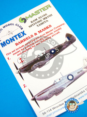Montex Mask: Masks 1/32 scale - Supermarine Spitfire Mk. VIII - New Guinea, April 1945 (AU3); November 1944 (AU3) - Australia - paint masks and painting instructions, metal barrels - for Tamiya kit