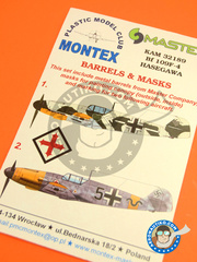 Montex Mask: Masks 1/32 scale - Messerschmitt Bf 109 F-4 - March 1942 (DE2); September 1941 (DE2) - Luftwaffe - paint masks, placement instructions and painting instructions, metal barrels - for Hasegawa kits