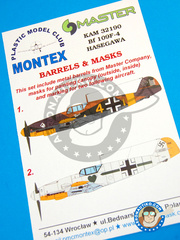Montex Mask: Masks 1/32 scale - Messerschmitt Bf 109 F-4 - barrels in metal and masks - for Hasegawa reference 08881