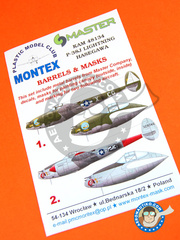 Montex Mask: Masks 1/48 scale - Lockheed P-38 Lightning J - Nuthampstead, April 1944 (US7); Italy, september 1944 (US7) - paint masks, water slide decals and placement instructions and metal barrels - for Hasegawa kit