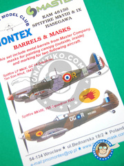 Montex Mask: Decals 1/48 scale - Supermarine Spitfire Mk. VIII / IX - masks, metal parts and decals - for Hasegawa kit