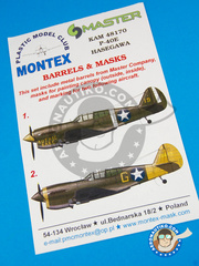Montex Mask: Masks 1/48 scale - Curtiss P-40 Warhawk E - Aleutian Islands, early 1942 (US5);  (US5) - USAF - paint masks and placement instructions and metal barrels - for Hasegawa kit