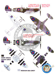 Montex Mask: Masks 1/48 scale - Supermarine Spitfire Mk. IX - barrels in metal and masks - for Hasegawa kit