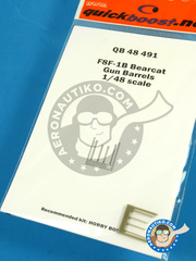 Quickboost: Gun barrels 1/48 scale - Grumman F8F Bearcat F1-B - resins - for Hobby Boss kit image