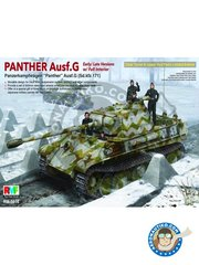 RYE FIELD MODELS: Tank kit 1/35 scale - Panther Ausf.G Early/Late w/Full interior (Sd.Kfz.171) - March 1945 () - photo-etched parts, plastic parts, water slide decals and assembly instructions