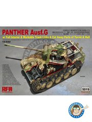 RYE FIELD MODELS: Tank kit 1/35 scale - Panther Ausf.G - metal parts, photo-etched parts, plastic parts, water slide decals and assembly instructions
